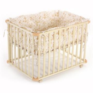 Baby Vivo 34534555 Laufgitter Holz 4-Eck mit Softeinlage 100 x 75 cm, creme - 1