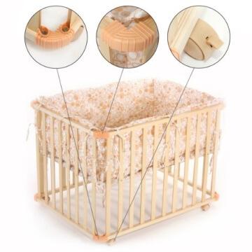 Baby Vivo 34534555 Laufgitter Holz 4-Eck mit Softeinlage 100 x 75 cm, creme - 2