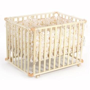 Baby Vivo 34534555 Laufgitter Holz 4-Eck mit Softeinlage 100 x 75 cm, creme - 3