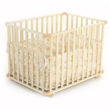 Baby Vivo 34534555 Laufgitter Holz 4-Eck mit Softeinlage 100 x 75 cm, creme - 4