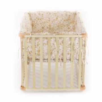 Baby Vivo 34534555 Laufgitter Holz 4-Eck mit Softeinlage 100 x 75 cm, creme - 6
